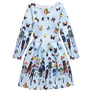 Rose Print Dress, Long Sleeve Dress, Round Collar Dress, Girls Lovely Dress, Vintage Dresses for Girls, Girls Swing Dress, Back Zipper Dress, A-Line Dress, #N15501