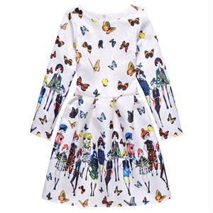 Rose Print Dress, Long Sleeve Dress, Round Collar Dress, Girls Lovely Dress, Vintage Dresses for Girls, Girls Swing Dress, Back Zipper Dress, A-Line Dress, #N15502