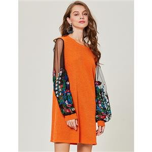 Long Sleeve Dress, Round Neck Dress, Floral Embroidery Dress, Mesh PatchWork Dress, Pullover Dress for Women, Mini Dress for Women, Casual Dress for Women, #N15355