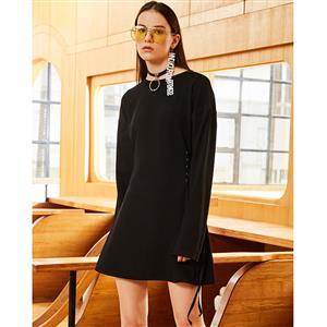 Long Sleeve Dress, A-Line Dress, Lace-up Dress, Pullover Dress, Mini Dress for Women, Round Collar Dress, Black Dress, Plain Dresses for Women, #N15492