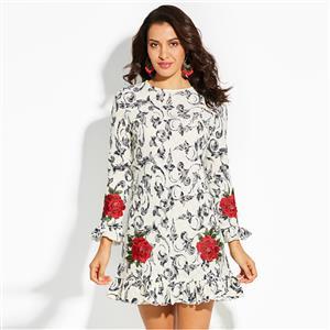 Long Sleeve Dress, Floral Print Dress, Round Collar Dress, Mini Dress, Embroidery Dress, Fashion Dresses for Women, Ruffle Dress, Back Zipper Dress, #N15570