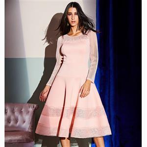 Long Sleeve Dress, Round Neck Dress, Midi Dress, A-Line Dress, Lovely Dresses for Women, Solid Color Dresses, Patchwork Dress, See-through Dress, Back Zipper Dress, #N15588