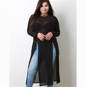 Long Sleeve Tops, Round Collar Tops, Plus Size Tops, See-through Top for Women, High Slit Tops for Women, Plus Size Long Tops, Plain Tops for Women, Solid Color Tops, #N15545