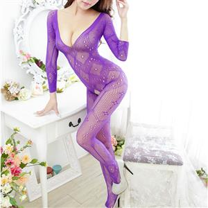 Sexy Long Sleeve Bodysuit Lingerie, Purple See-through Crotchless Bodystocking, Long Sleeve See-through Bodystocking Lingerie, Sexy Hollow Out Crotchless Bodystocking, Long Sleeve Open Crotch Bodysuit Lingerie, V Neck See-through Open Crotch Bodystocking, #BS16972