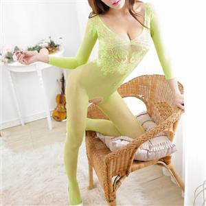 Sexy Long Sleeve See-through Bodysuit Lingerie, Light Green See-through Crotchless Bodystocking, Long Sleeve Mesh Pattern Bodystocking Lingerie, Sexy See-through Hollow Out Bodystocking, See-through Jacquard Mesh Open Crotch Bodystocking, #BS17050