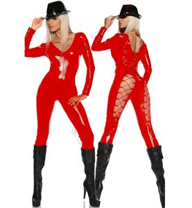 Red Long Sleeve PVC Leather Catsuit, Wetlook Open Back V-neckline Jumpsuit, Red Lacing Up Back Bodysuit, #N9103
