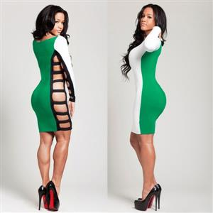 Long Sleeves Hollow Out Side Dress, Green & White Patchwork Knee-Length Dress, Exposed Bodycon Party Evening Dress, #N8803