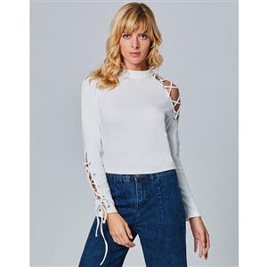Long Sleeve Tops, Stand Collar Tops, Lace-up Tops for Women, Pullover Tops, Knitwear Tops, Hollow Top, Casual Tops for Women, #N15293
