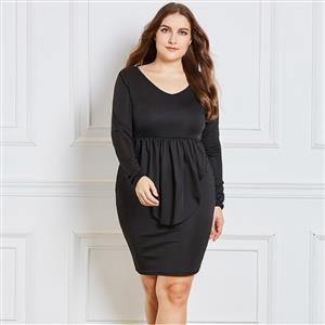 Long Sleeve Dress, V Neck Dress, Black Plus Size Dress, Bodycon Dress for Women, Midi Dress, Plain Dresses for Women, Solid Color Dress, Sexy Party Dresses, #N15541