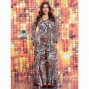 Long Sleeve Jumpsuit, V Neck Jumpsuit, Plus Size Jumpsuit, Leopard Print Jumpsuit, Double-Layered Jumpsuit, Fashion Jumpsuits for Women, Full Length Jumpsuit, #N15614