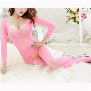 Sexy Long Sleeve Bodysuit Lingerie, Pink See-through Crotchless Bodystocking, Long Sleeve See-through Bodystocking Lingerie, Long Sleeve Open Crotch Bodysuit Lingerie, V Neck See-through Open Crotch Bodystocking, #BS16916