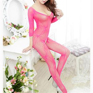 Sexy Long Sleeve Bodysuit Lingerie, Rose Red See-through Crotchless Bodystocking, Long Sleeve See-through Bodystocking Lingerie, Long Sleeve Open Crotch Bodysuit Lingerie, V Neck See-through Open Crotch Bodystocking, #BS16918
