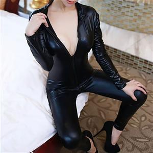 Sexy Leather Catsuit Lingerie, Black Long Sleeve Bodycon Jumpsuit, Zipper Leather Bodysuit Lingerie,  Sexy Night Club Leather Catsuit Lingerie, Long Sleeve Zipper Bodycon Jumpsuit, #N16560