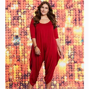 Half Sleeve Jumpsuit, Round Neck Jumpsuit, Plus Size Jumpsuits for Women, Solid Color Jumpsuit, Red Jumpsuit Plus Size, Fashion Jumpsuits for Women, Mid-Calf Jumpsuit, #N15615