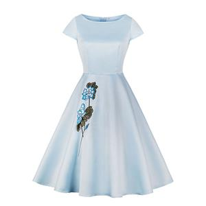 Elegant Light Blue Lotus Embroidered Short Sleeve High Waist A-line Party Dress N18694