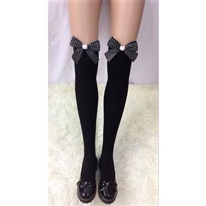 Cute Black Stockings, Sexy Thigh Highs Stockings, Pure Black Cosplay Stockings, Anime Thigh High Stockings, Black Bowknot Stocking, Stretchy Nightclub Knee Stockings, #HG18458