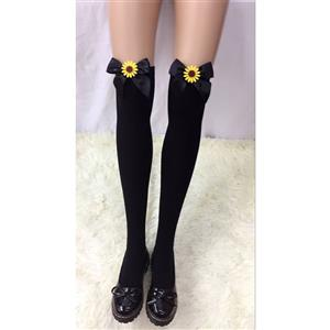 Lovely Black Stockings, Sexy Thigh Highs Stockings, Pure Black Cosplay Stockings, SunflowerThigh High Stockings, Black Bowknot Stocking, Stretchy Nightclub Knee Stockings, #HG18467