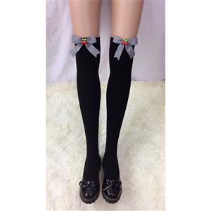 Lovely Black Stockings, Sexy Thigh Highs Stockings, Pure Black Cosplay Stockings, Cherry Thigh High Stockings, Black Grid Bowknot Stocking, Stretchy Nightclub Knee Stockings, #HG18475