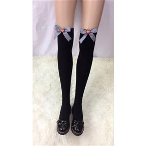 Lovely Black Stockings, Sexy Thigh Highs Stockings, Pure Black Cosplay Stockings, Strawberry Thigh High Stockings, Black Grid Bowknot Stocking, Stretchy Nightclub Knee Stockings, #HG18478