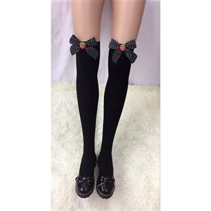 Lovely Black Stockings, Sexy Thigh Highs Stockings, Pure Black Cosplay Stockings, Strawberry Thigh High Stockings, Black Spots Bowknot Stocking, Stretchy Nightclub Knee Stockings, #HG18478