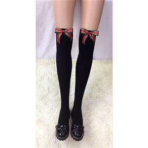 Lovely Black Stockings, Sexy Thigh Highs Stockings, Pure Black Cosplay Stockings, Christmas Color Bowknot Thigh High Stockings, Black Spots Bowknot Stocking, Stretchy Nightclub Knee Stockings, #HG18481