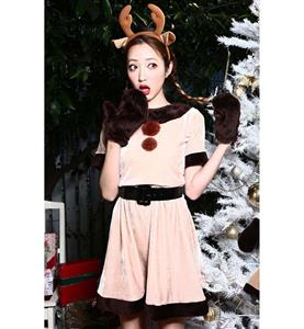 Cheap Beige Velvet Christmas Dress, Fashion Girl Reindeer Costume, Comfortable Beige Christmas Costume, #XT9827