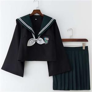 School Girl Costume, HP JK Uniform Costume, Schoolgirl Costume, School Girl Adult Costume, Japan School Uniform Cosplay Costume, the Snake Academy JK Uniform, #N18898