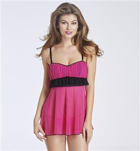 Lovely Hot-pink Ruffle Trim Babydoll Lingerie N11270