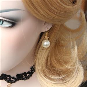 Retro Alloy Earrings, Gothic Style Earrings, Fashion Artificial Pearl Earrings for Women, Vintage White Pearl Earrings, Casual Venetian Pearl Earrings, Victorian Gothic Pearl Earrings, Fashion Venetian Earrings, #J18436