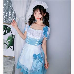 Lovely Maid Costume with Headwear, Adult Maid Cosplay Costume, Lovely Lolita Dress Costume, Maid Fancy Dress Cosplay Costume, Blue French Maid Halloween Costume, Short Sleeve Square Neck Midi Dress, #N17039