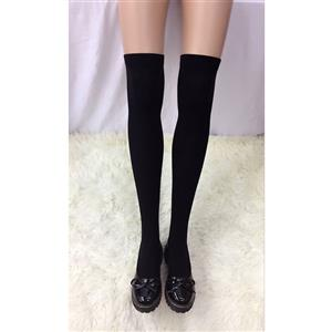 Cute Black Stockings, Sexy Thigh Highs Stockings, Pure Black Cosplay Stockings, Anime Thigh High Stockings, Stretchy Nightclub Knee Stockings, #HG18456