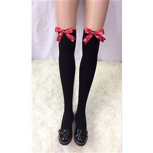 Cute Black Stockings, Sexy Thigh Highs Stockings, Pure Black Cosplay Stockings, Anime Thigh High Stockings, Red Snowflake Bowknot Stockings, Stretchy Nightclub Knee Stockings, #HG18457