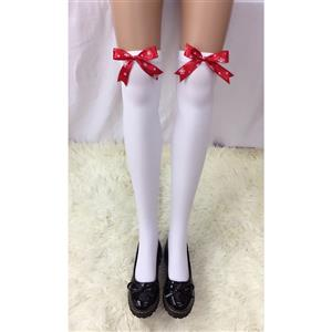 Cute White Stockings, Sexy Thigh Highs Stockings, Pure White Cosplay Stockings, Anime Thigh High Stockings, Red Bowknot Stockings, Stretchy Nightclub Knee Stockings, #HG18454