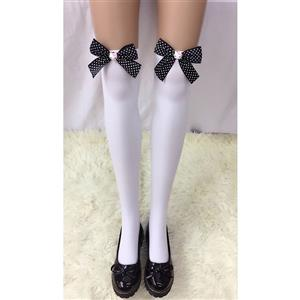 Cute White Stockings, Sexy Thigh Highs Stockings, Pure White Cosplay Stockings, Anime Thigh High Stockings, Red Bowknot Stockings, Stretchy Nightclub Knee Stockings, #HG18455