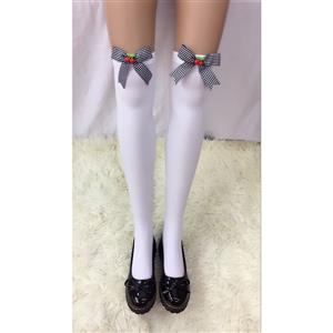 Cute White Stockings, Sexy Thigh Highs Stockings, Pure White Cosplay Stockings, Anime Thigh High Stockings,  Bowknot and Cherry Stockings, Stretchy Nightclub Knee Stockings, #HG18482