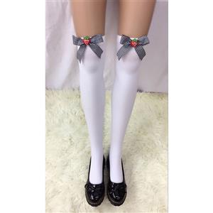 Cute White Stockings, Sexy Thigh Highs Stockings, Pure White Cosplay Stockings, Anime Thigh High Stockings,  Bowknot and Strawberry Stockings, Stretchy Nightclub Knee Stockings, #HG18483