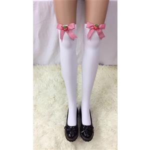 Cute White Stockings, Sexy Thigh Highs Stockings, Pure White Cosplay Stockings, Anime Thigh High Stockings,  Bowknot and Strawberry Stockings, Stretchy Nightclub Knee Stockings, #HG18485