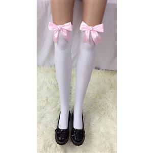 Cute White Stockings, Sexy Thigh Highs Stockings, Pure White Cosplay Stockings, Anime Thigh High Stockings,  Bowknot and Cat Stockings, Stretchy Nightclub Knee Stockings, #HG18486