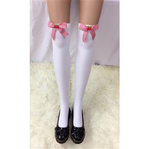 Cute White Stockings, Sexy Thigh Highs Stockings, Pure White Cosplay Stockings, Anime Thigh High Stockings, Bowknot and Cherry Stockings, Stretchy Nightclub Knee Stockings, #HG18487