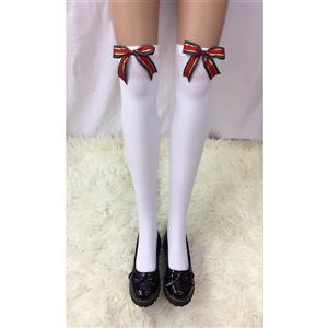 Cute White Stockings, Sexy Thigh Highs Stockings, Pure White Cosplay Stockings, Anime Thigh High Stockings, Christmas Bowknot Stockings, Stretchy Nightclub Knee Stockings, #HG18488