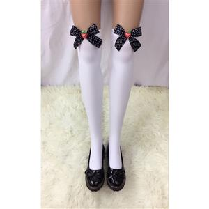 Cute White Stockings, Sexy Thigh Highs Stockings, Pure White Cosplay Stockings, Anime Thigh High Stockings, Bowknot and Strawberry Stockings, Stretchy Nightclub Knee Stockings, #HG18489