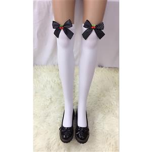 Cute White Stockings, Sexy Thigh Highs Stockings, Pure White Cosplay Stockings, Anime Thigh High Stockings, Bowknot and Cherry Stockings, Stretchy Nightclub Knee Stockings, #HG18490