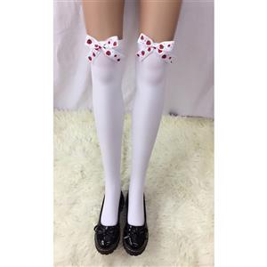 Cute White Stockings, Sexy Thigh Highs Stockings, Pure White Cosplay Stockings, Anime Thigh High Stockings, Strawberry Bowknot Stockings, Stretchy Nightclub Knee Stockings, #HG18497