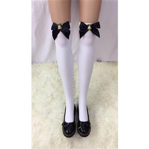 Cute White Stockings, Sexy Thigh Highs Stockings, Pure White Cosplay Stockings, Anime Thigh High Stockings, Black Bowknot and Golden Bell Stockings, Stretchy Nightclub Knee Stockings, #HG18498