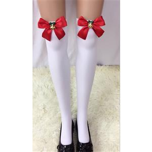 Cute White Stockings, Sexy Thigh Highs Stockings, Pure White Cosplay Stockings, Anime Thigh High Stockings, Christmas Red Bowknot and Golden Bell Stockings, Stretchy Nightclub Knee Stockings, #HG18499