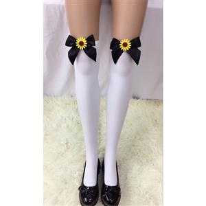 Cute White Stockings, Sexy Thigh Highs Stockings, Pure White Cosplay Stockings, Anime Thigh High Stockings, Black Bowknot and Sun Flower Stockings, Stretchy Nightclub Knee Stockings, #HG18500