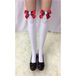 Cute White Stockings, Sexy Thigh Highs Stockings, Pure White Cosplay Stockings, Anime Thigh High Stockings, Christmas Red Bowknot and Snowflake Stockings, Stretchy Nightclub Knee Stockings, #HG18504