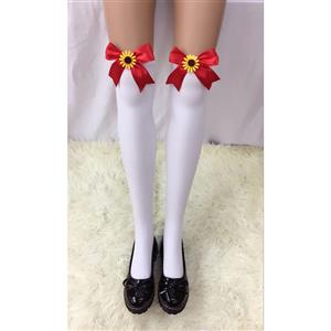 Cute White Stockings, Sexy Thigh Highs Stockings, Pure White Cosplay Stockings, Anime Thigh High Stockings, Red Bowknot and Sun Flower Stockings, Stretchy Nightclub Knee Stockings, #HG18524