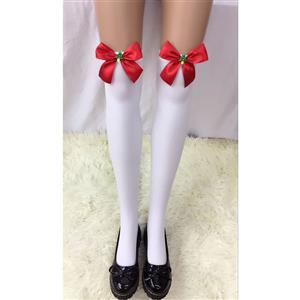 Cute White Stockings, Sexy Thigh Highs Stockings, Pure White Cosplay Stockings, Anime Thigh High Stockings, Red Bowknot and Christmas Tree Stockings, Stretchy Nightclub Knee Stockings, #HG18526
