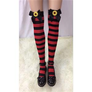 Lovely Stockings, Sexy Thigh Highs Stockings, Red-black Strips Cosplay Stockings, Black Bowknot with Sunflower Cosplay Thigh High Stockings, Stretchy Nightclub Knee Stockings, #HG18534